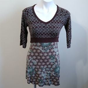 Athleta brown mint floral patchwork dress medium
